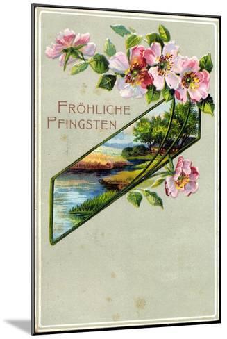 Präge Litho Glückwunsch Pfingsten, Apfelblütenzweig--Mounted Giclee Print