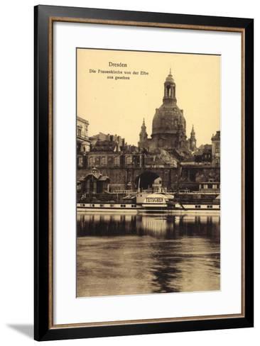 Dresden, Frauenkirche, Elbe, Dampfer Tetschen--Framed Art Print