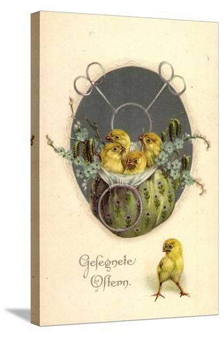 Glückwunsch Ostern, Küken in Einem Beutel--Stretched Canvas Print