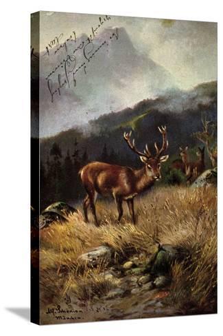 K?nstler Sch?nian, Alfred, Rehe Im Wald, Geweih, Berge--Stretched Canvas Print