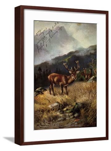 K?nstler Sch?nian, Alfred, Rehe Im Wald, Geweih, Berge--Framed Art Print