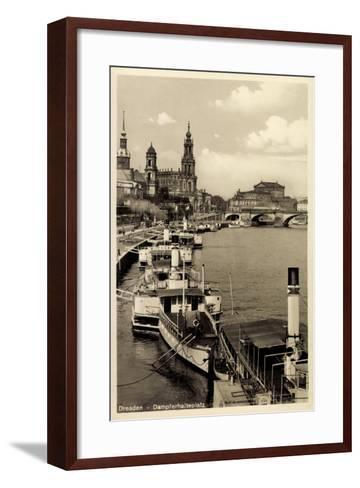 Dresden, Stadtblick, Dampfer Pillnitz, Kirche,Br?cke--Framed Art Print