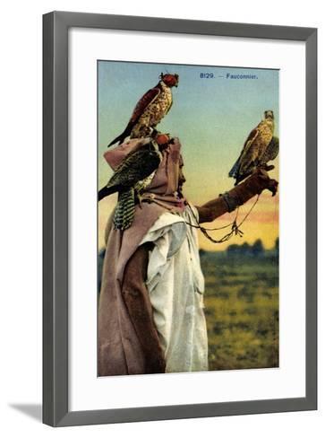 Falkner, Falken, Französische Kolonien, Beizjagd, Falknerei--Framed Art Print