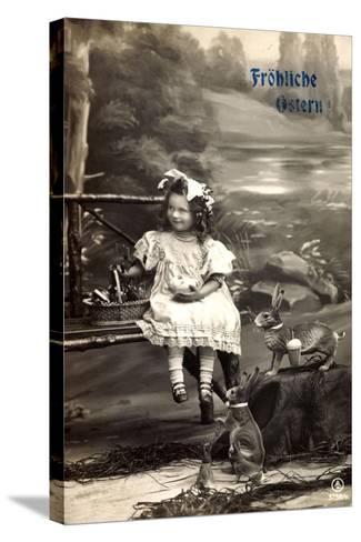 Frohe Ostern, Mädchen Am Fluss, Osterhasen, Korb--Stretched Canvas Print