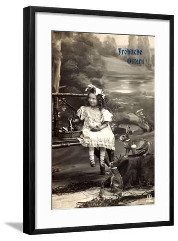 Frohe Ostern, Mädchen Am Fluss, Osterhasen, Korb--Framed Art Print