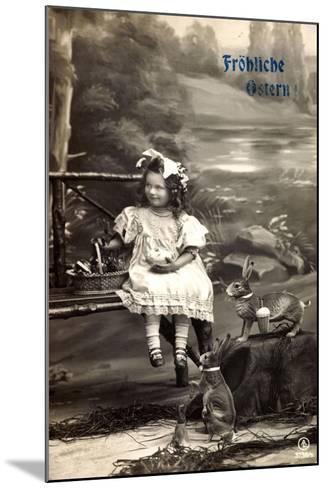 Frohe Ostern, Mädchen Am Fluss, Osterhasen, Korb--Mounted Giclee Print