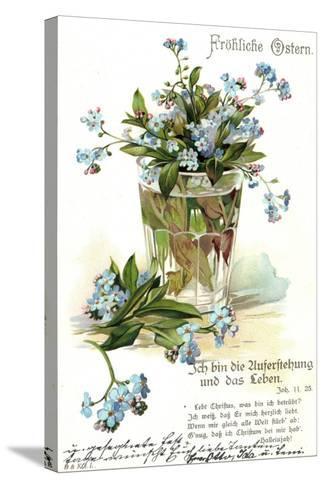 Frohe Ostern, Vergissmeinnicht, Wasserglas--Stretched Canvas Print