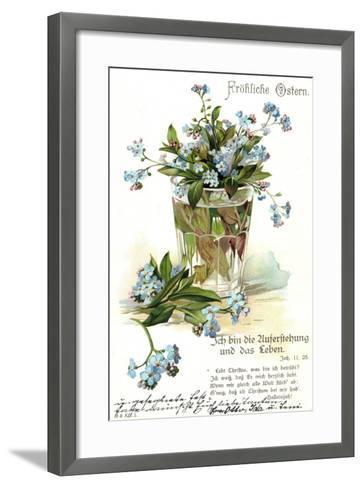 Frohe Ostern, Vergissmeinnicht, Wasserglas--Framed Art Print