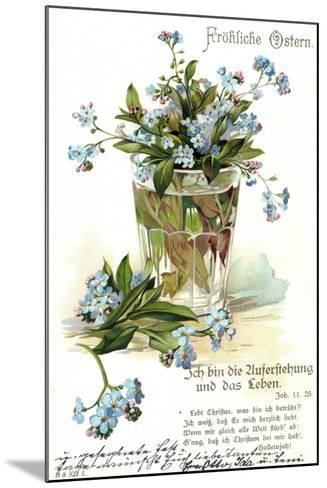 Frohe Ostern, Vergissmeinnicht, Wasserglas--Mounted Giclee Print