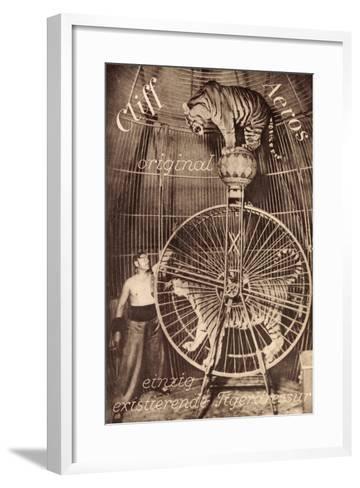 Cliff Aeros, Tigerdressur, Zirkusk?nstler, Laufrad, Raubkatzen--Framed Art Print