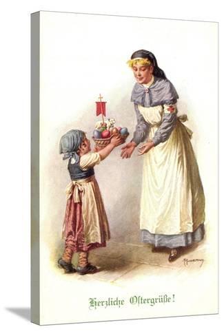 Künstler Kuderna F., Kind Bringt Schwester E. Korb--Stretched Canvas Print