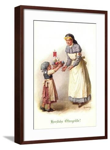 Künstler Kuderna F., Kind Bringt Schwester E. Korb--Framed Art Print