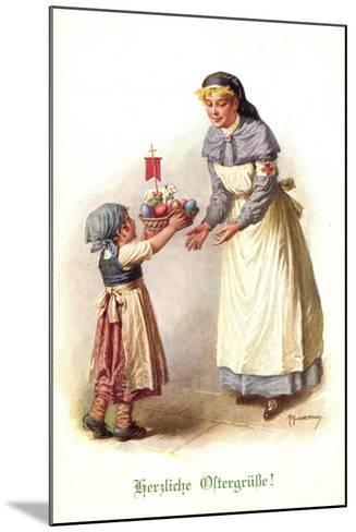 Künstler Kuderna F., Kind Bringt Schwester E. Korb--Mounted Giclee Print