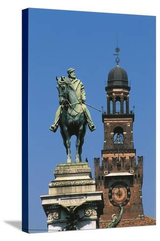 Italy - Lombardy Region - Monument to Garibaldi and Sforza Castle in Milan--Stretched Canvas Print