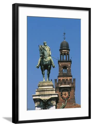 Italy - Lombardy Region - Monument to Garibaldi and Sforza Castle in Milan--Framed Art Print