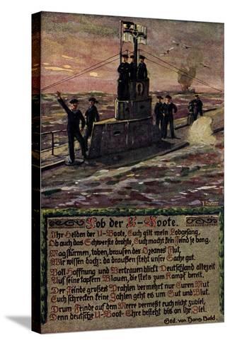 K?nstler U Boot Mit Soldaten Auf Hoher See, Gedicht--Stretched Canvas Print