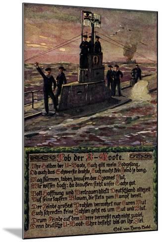 K?nstler U Boot Mit Soldaten Auf Hoher See, Gedicht--Mounted Giclee Print