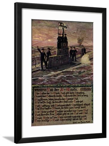 K?nstler U Boot Mit Soldaten Auf Hoher See, Gedicht--Framed Art Print