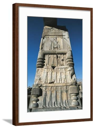 Iran, Fars Province, Persepolis, Bas Relief on Column at Throne Hall--Framed Art Print