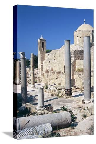 Cyprus, Paphos, Panagia Chrysopolitissa Church and St Paul's Pillar--Stretched Canvas Print