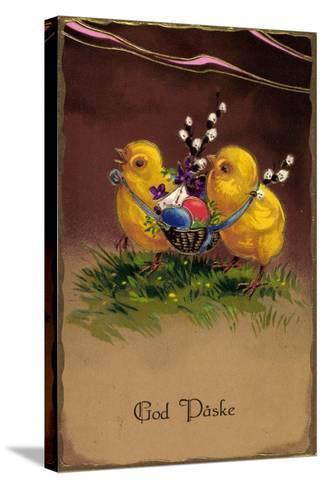 Pr?ge Frohe Ostern, K?ken Tragen Ostereier Im Korb--Stretched Canvas Print