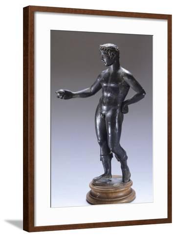 Bronze Figure Making an Offering BC--Framed Art Print