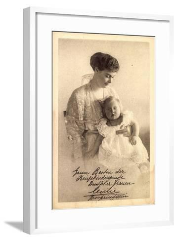Kronprinzessin Cecilie Von Preußen Mit Tochter--Framed Art Print