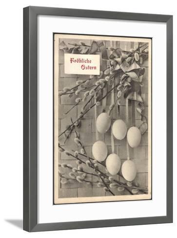 Glückwunsch Ostern, Ostereier an Weidenkätzchen--Framed Art Print