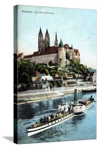 Meissen, Ein Dampfer Auf Der Elbe, Albrechtsburg--Stretched Canvas Print