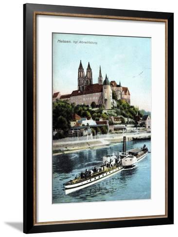 Meissen, Ein Dampfer Auf Der Elbe, Albrechtsburg--Framed Art Print