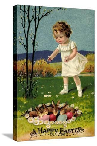 Happy Easter, Girl, Rabbits, Easter Eggs, Nest--Stretched Canvas Print
