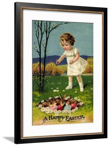 Happy Easter, Girl, Rabbits, Easter Eggs, Nest--Framed Art Print