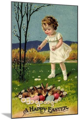 Happy Easter, Girl, Rabbits, Easter Eggs, Nest--Mounted Giclee Print