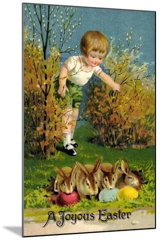 Frohe Ostern, Junge Entdeckt Osterhasen, Ostereier--Mounted Giclee Print