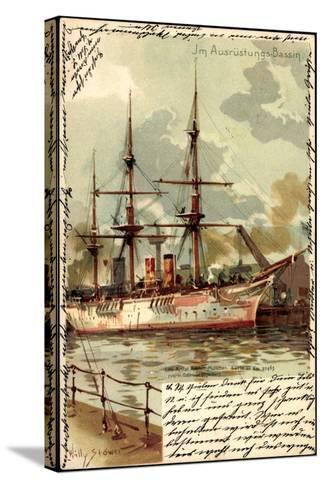 Künstler Litho Stöwer, W.,Ausrüstungsbecken,Segelschiff--Stretched Canvas Print
