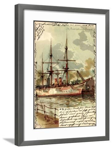 Künstler Litho Stöwer, W.,Ausrüstungsbecken,Segelschiff--Framed Art Print
