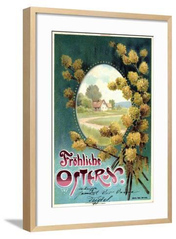 Präge Litho Glückwunsch Ostern, Weidenkätzchen, Haus--Framed Art Print