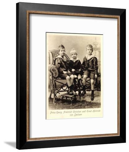 Prinz Georg, Fr. Christian,Ernst Heinrich V. Sachsen--Framed Art Print