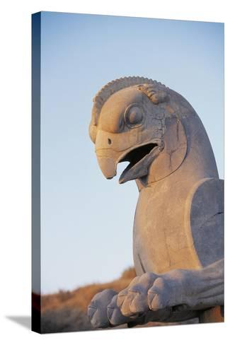 Iran, Fars Province, Persepolis, Sculpture of Head of Bird at Throne Hall--Stretched Canvas Print