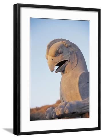 Iran, Fars Province, Persepolis, Sculpture of Head of Bird at Throne Hall--Framed Art Print