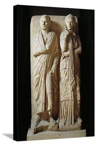 Italy, Rome, Funerary Stele from Via Statilia--Stretched Canvas Print