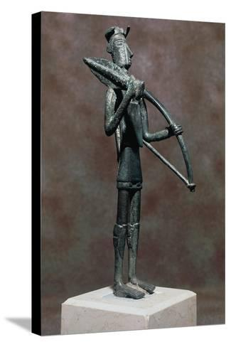 Warrior with Sword and Bow, Bronze Statue, from Monte Arcosu, Uta, Sardinia, Italy--Stretched Canvas Print