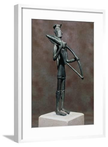 Warrior with Sword and Bow, Bronze Statue, from Monte Arcosu, Uta, Sardinia, Italy--Framed Art Print