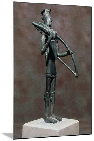 Warrior with Sword and Bow, Bronze Statue, from Monte Arcosu, Uta, Sardinia, Italy--Mounted Giclee Print