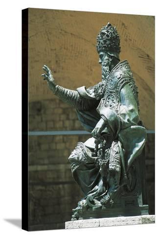Statue of Pope Julius Iii Placed in Front of St Lawrence's Cathedral, Perugia, Umbria, Italy--Stretched Canvas Print
