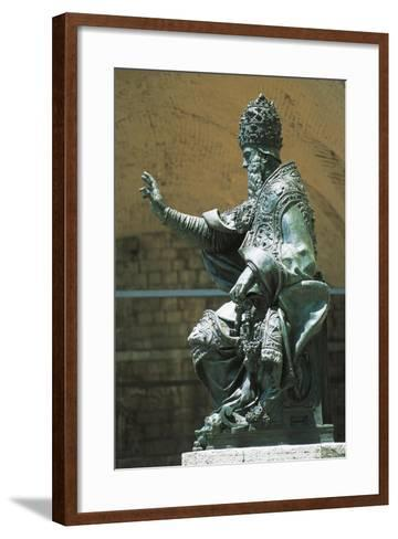 Statue of Pope Julius Iii Placed in Front of St Lawrence's Cathedral, Perugia, Umbria, Italy--Framed Art Print