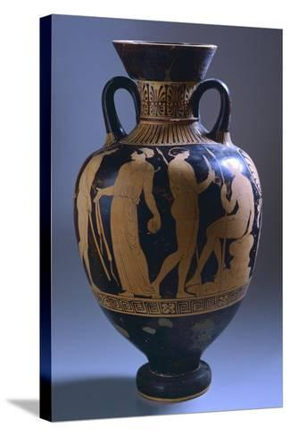 Amphora with Scenes of Everyday Life--Stretched Canvas Print
