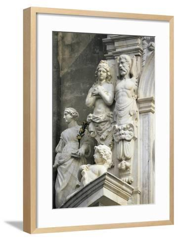 Decorative Detail from Marble Entrance, 1668-1672, Acireale Cathedral, Acireale, Sicily, Italy--Framed Art Print