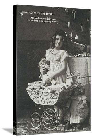 Child with Armand Marseille Doll, Postcard--Stretched Canvas Print