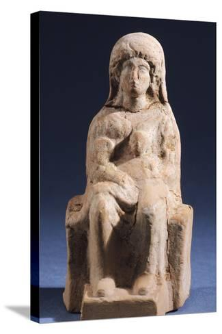 Woman with Child, Terracotta Statue Unearthed in Votive Deposit in Gela, Sicily, Italy--Stretched Canvas Print